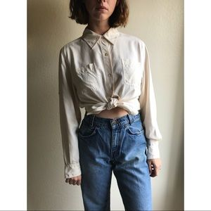 [vintage] pure silk ivory button up